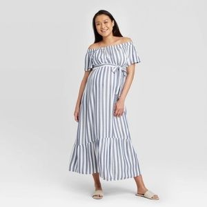 Isabel Maternity white blue stripe dress belt L
